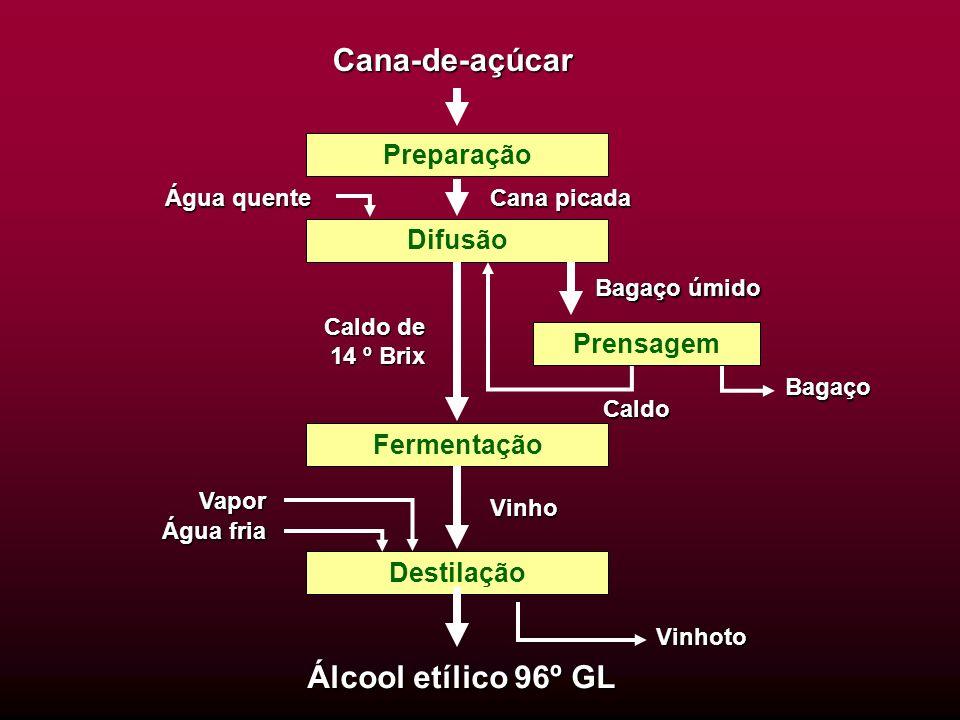 Cana-de-açúcar Álcool etílico 96º GL