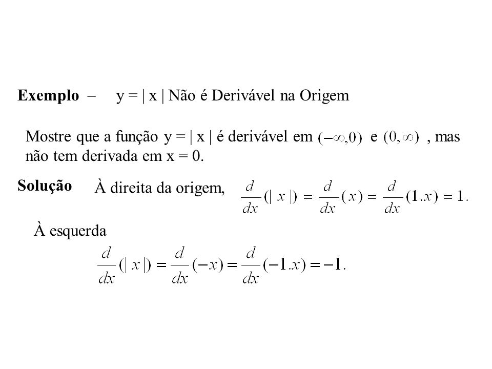 Exemplo – y = | x | Não é Derivável na Origem