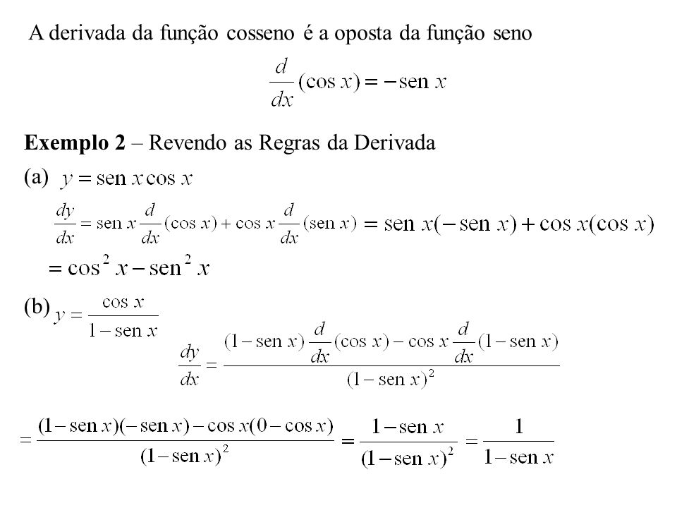 A derivada da função cosseno é a oposta da função seno