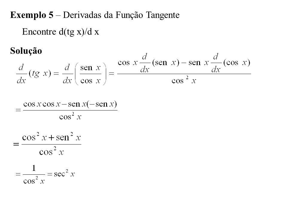 Exemplo 5 – Derivadas da Função Tangente