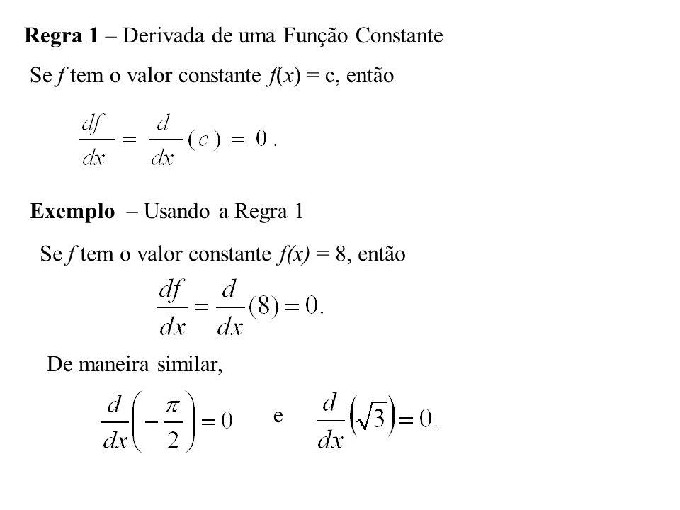 Regra 1 – Derivada de uma Função Constante