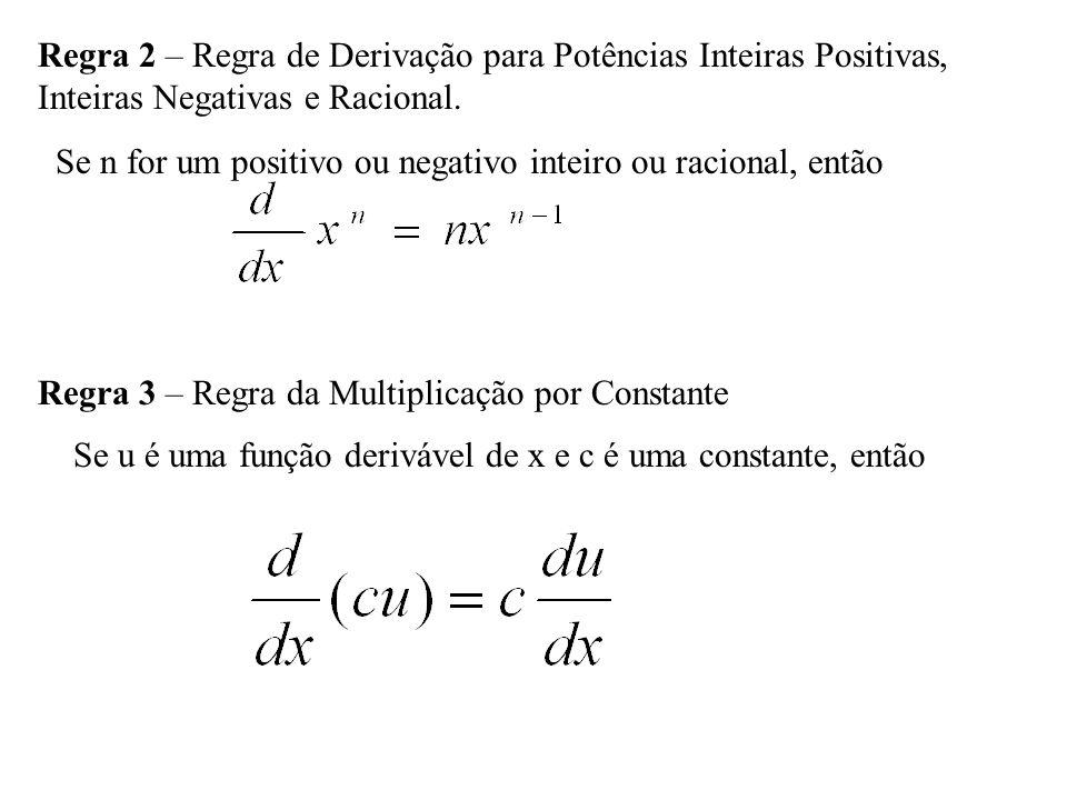 Regra 2 – Regra de Derivação para Potências Inteiras Positivas,
