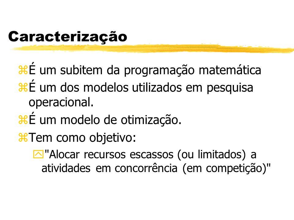 Caracterização É um subitem da programação matemática