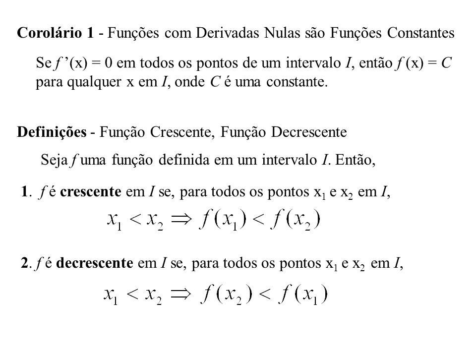 Corolário 1 - Funções com Derivadas Nulas são Funções Constantes