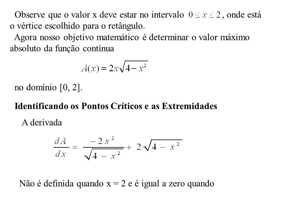 Observe que o valor x deve estar no intervalo , onde está