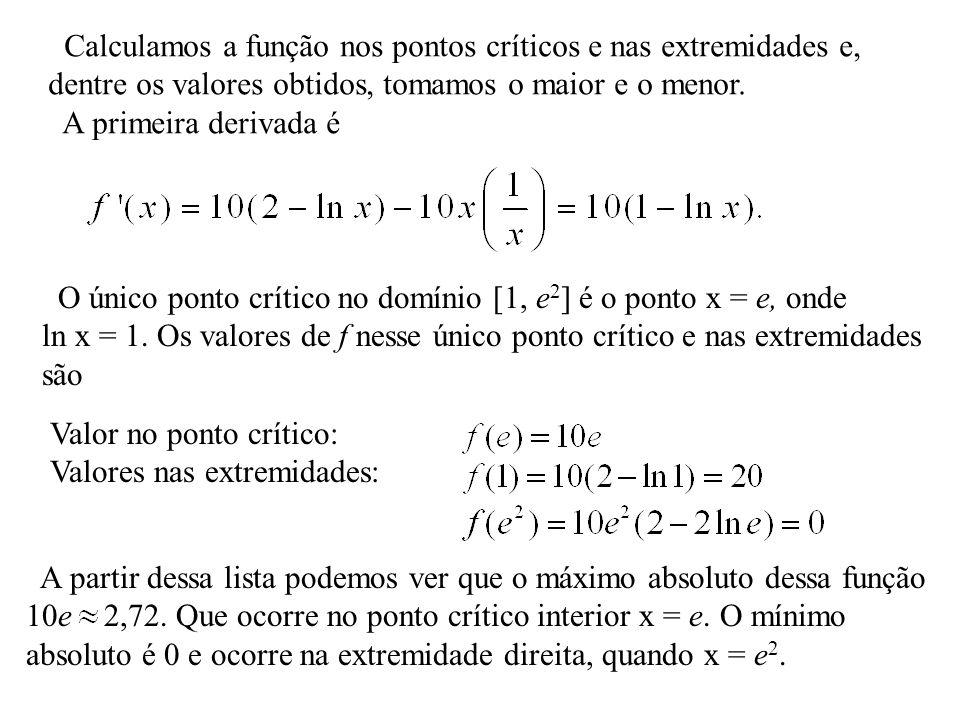 Calculamos a função nos pontos críticos e nas extremidades e,