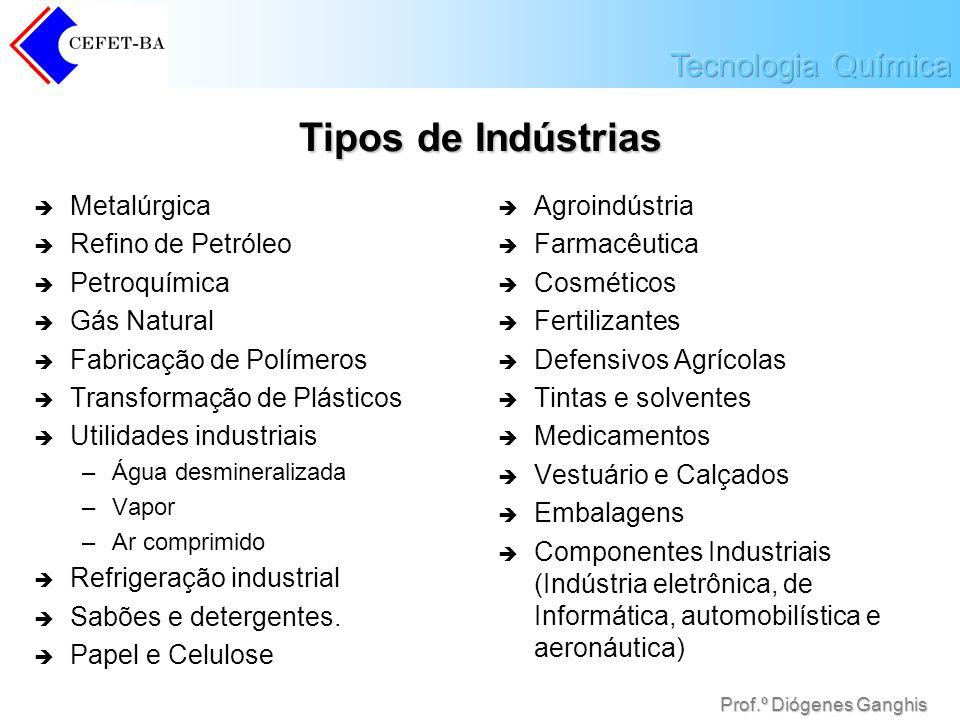 Tipos de Indústrias Metalúrgica Refino de Petróleo Petroquímica