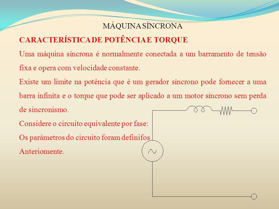 MÁQUINA SÍNCRONACARACTERÍSTICA DE POTÊNCIA E TORQUE.