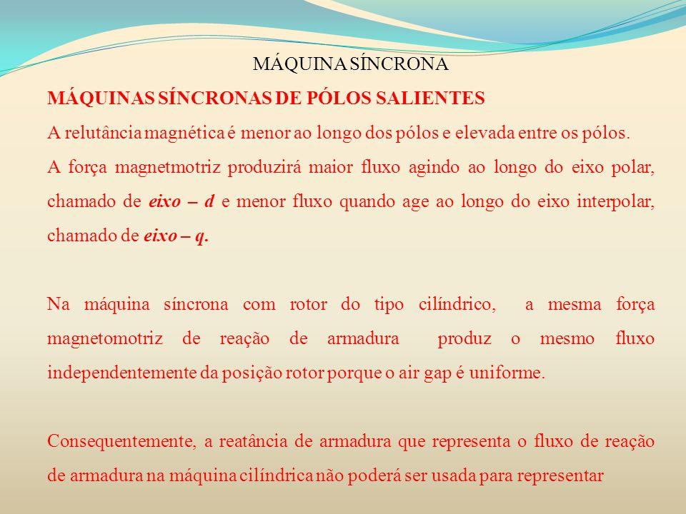 MÁQUINA SÍNCRONA MÁQUINAS SÍNCRONAS DE PÓLOS SALIENTES. A relutância magnética é menor ao longo dos pólos e elevada entre os pólos.
