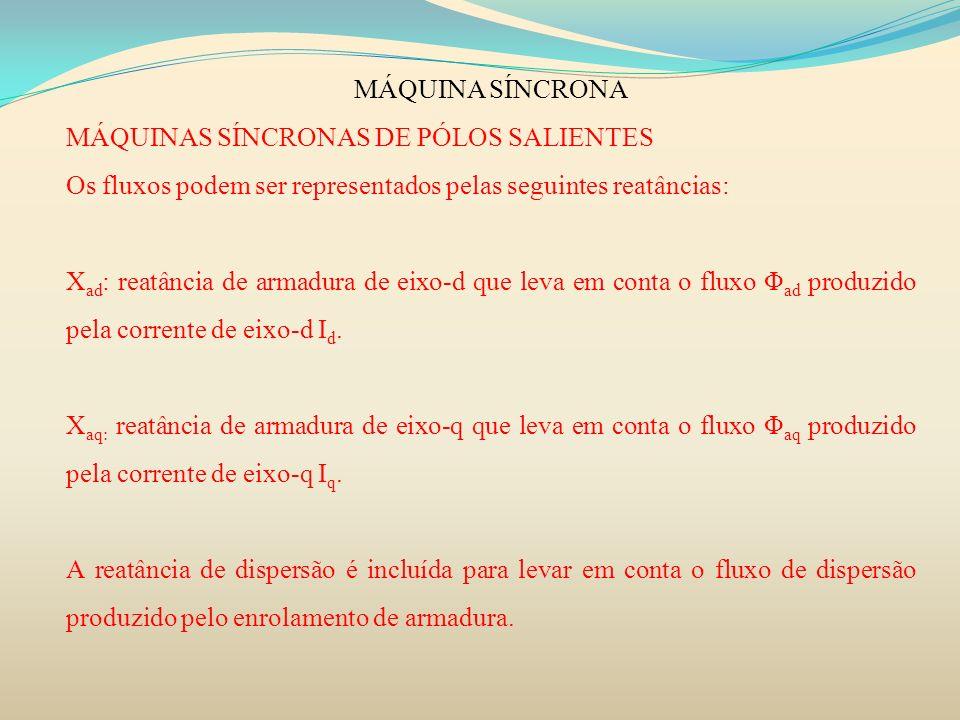 MÁQUINA SÍNCRONA MÁQUINAS SÍNCRONAS DE PÓLOS SALIENTES. Os fluxos podem ser representados pelas seguintes reatâncias: