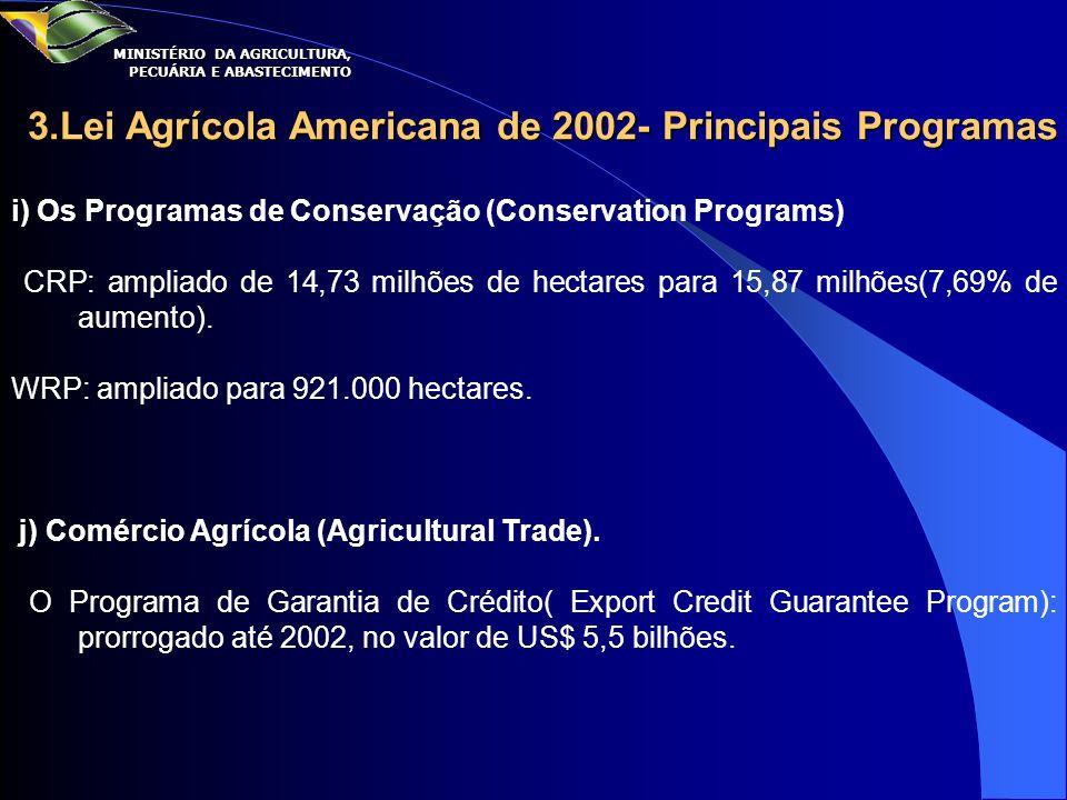 3.Lei Agrícola Americana de 2002- Principais Programas