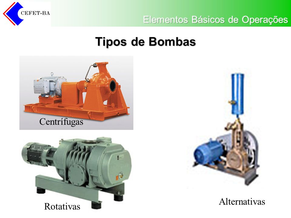 Tipos de Bombas Centrífugas Alternativas Rotativas