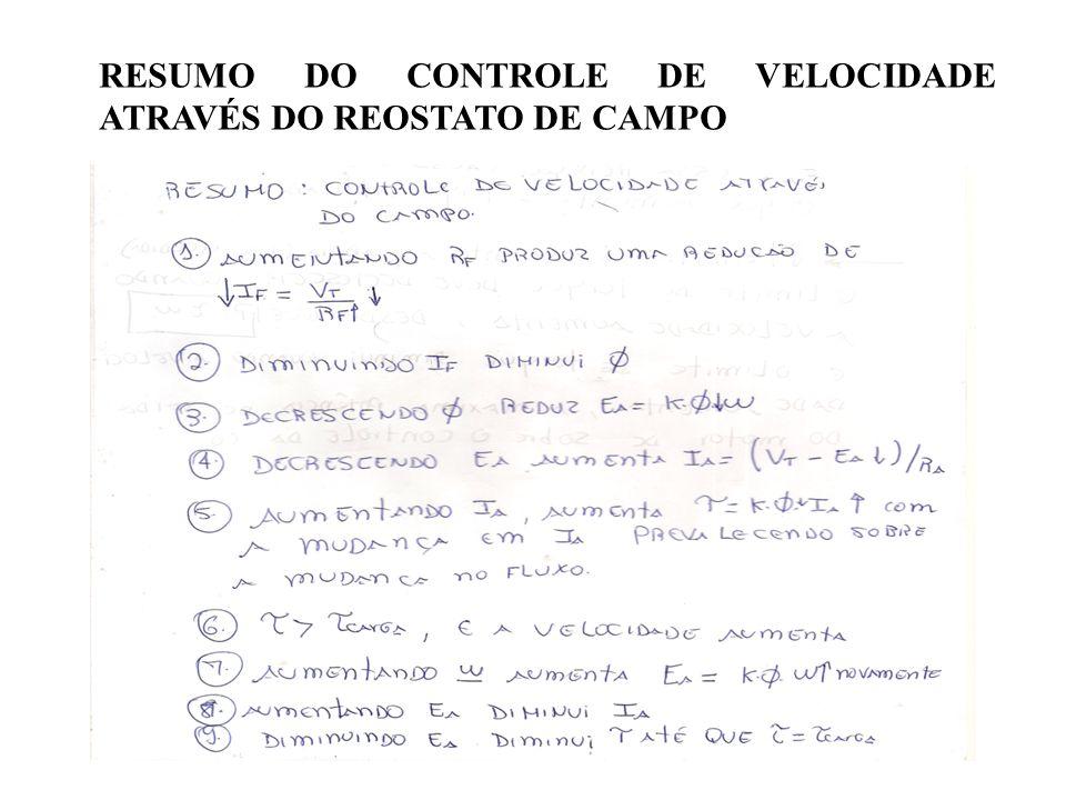 RESUMO DO CONTROLE DE VELOCIDADE ATRAVÉS DO REOSTATO DE CAMPO