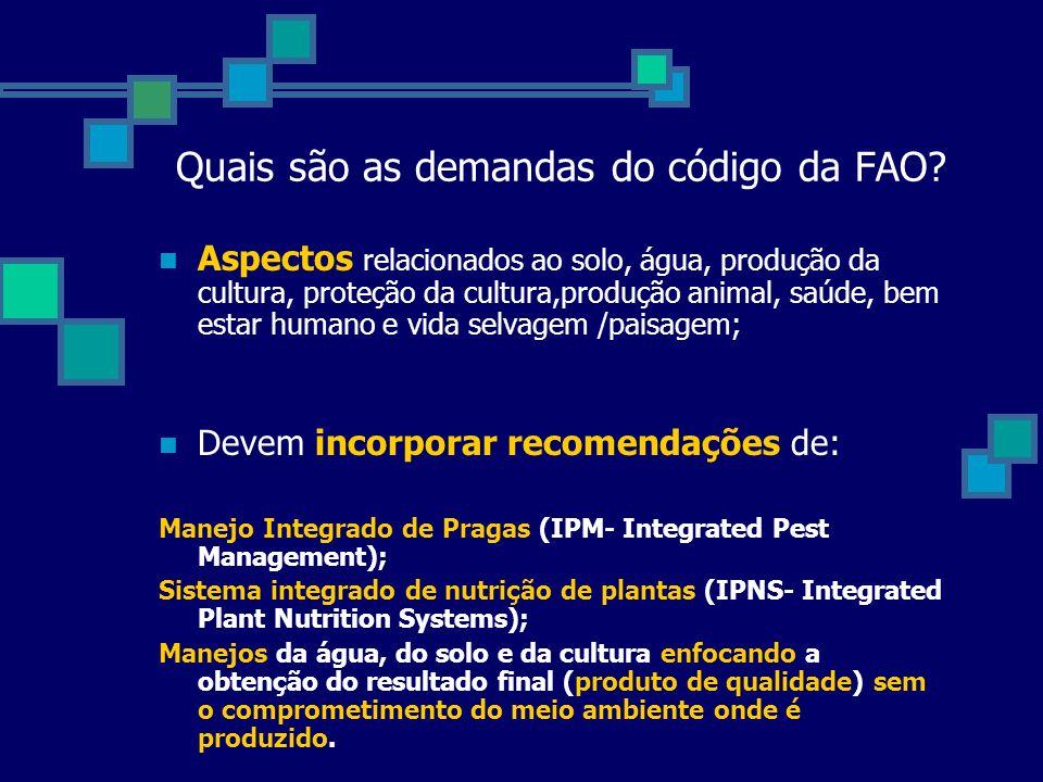 Quais são as demandas do código da FAO