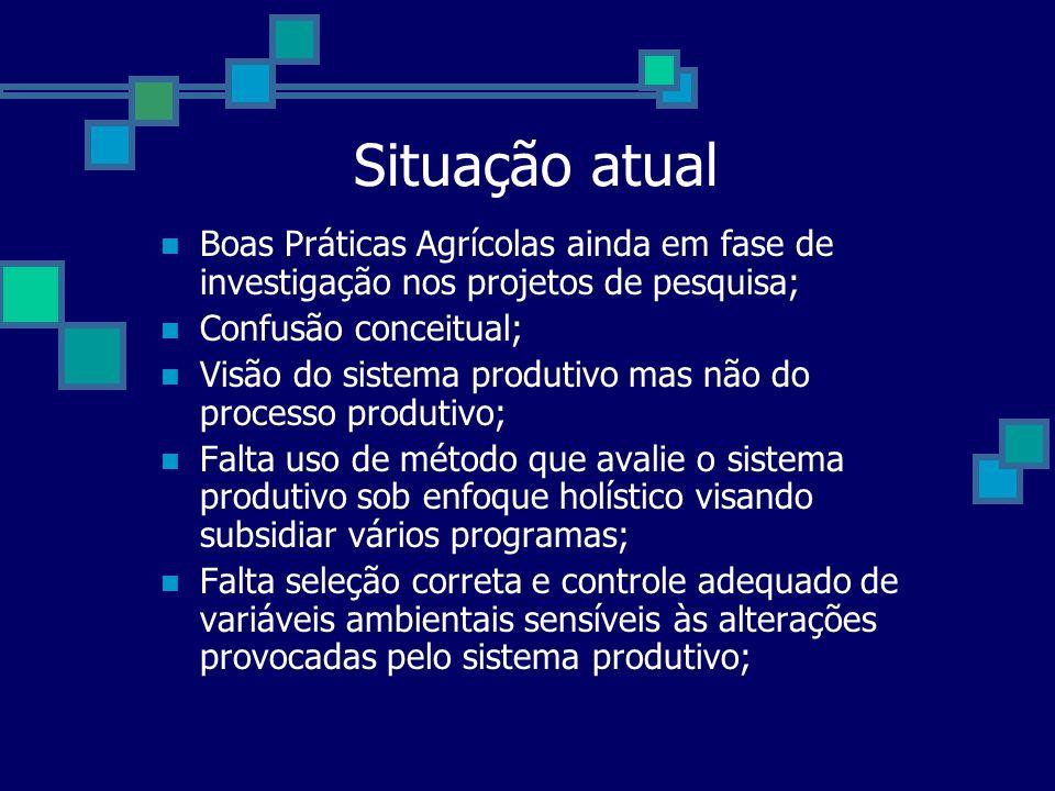Situação atual Boas Práticas Agrícolas ainda em fase de investigação nos projetos de pesquisa; Confusão conceitual;