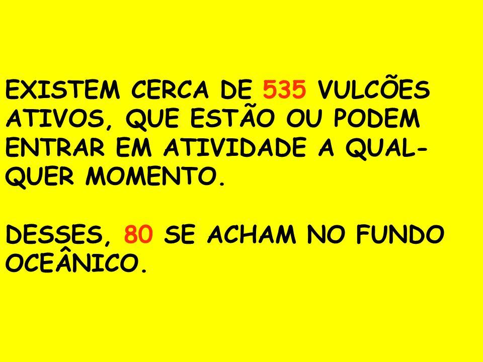EXISTEM CERCA DE 535 VULCÕES ATIVOS, QUE ESTÃO OU PODEM ENTRAR EM ATIVIDADE A QUAL-QUER MOMENTO.