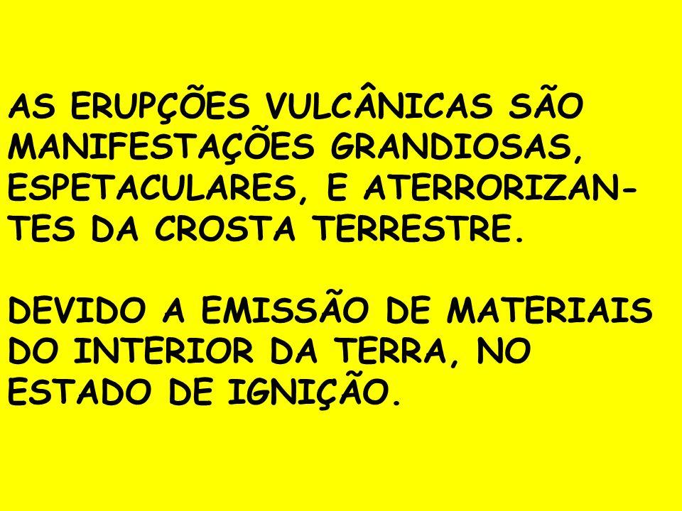 AS ERUPÇÕES VULCÂNICAS SÃO MANIFESTAÇÕES GRANDIOSAS, ESPETACULARES, E ATERRORIZAN-TES DA CROSTA TERRESTRE.