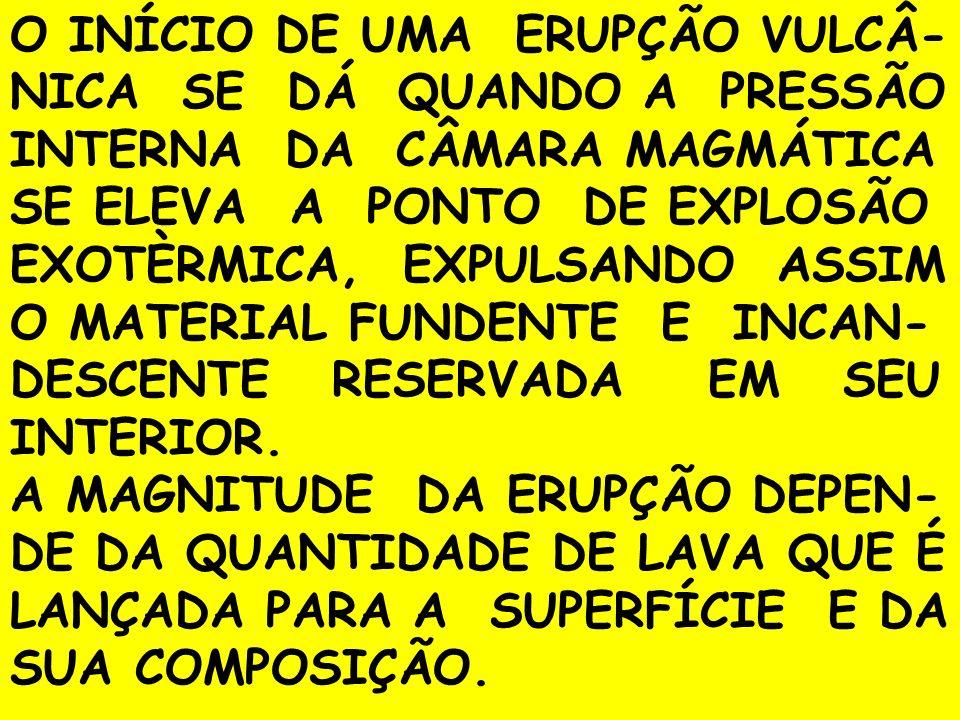 O INÍCIO DE UMA ERUPÇÃO VULCÂ-NICA SE DÁ QUANDO A PRESSÃO INTERNA DA CÂMARA MAGMÁTICA SE ELEVA A PONTO DE EXPLOSÃO EXOTÈRMICA, EXPULSANDO ASSIM O MATERIAL FUNDENTE E INCAN-DESCENTE RESERVADA EM SEU INTERIOR.