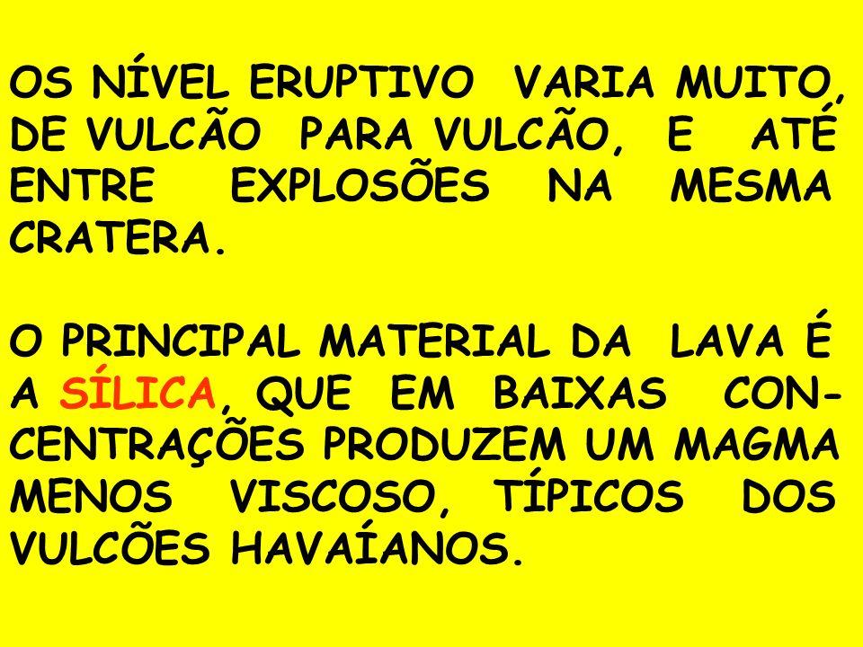 OS NÍVEL ERUPTIVO VARIA MUITO, DE VULCÃO PARA VULCÃO, E ATÉ ENTRE EXPLOSÕES NA MESMA CRATERA.