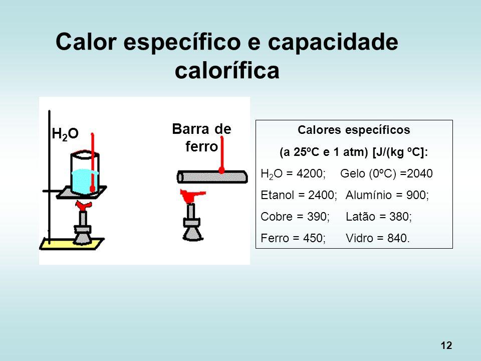 Calor específico e capacidade calorífica