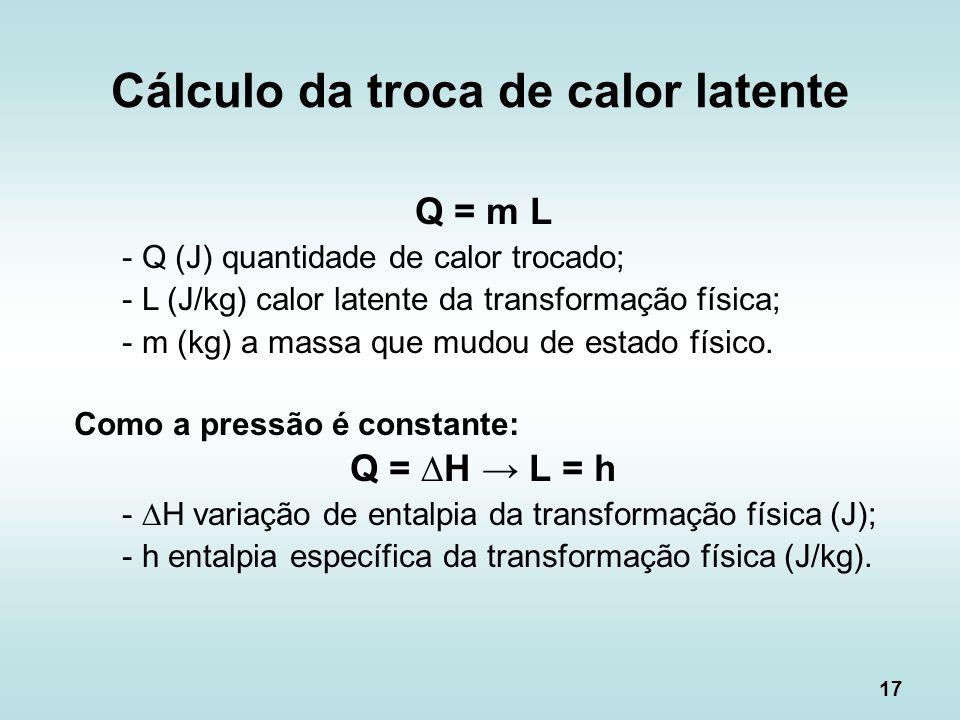 Cálculo da troca de calor latente