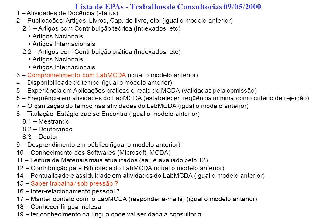Lista de EPAs - Trabalhos de Consultorias 09/05/2000