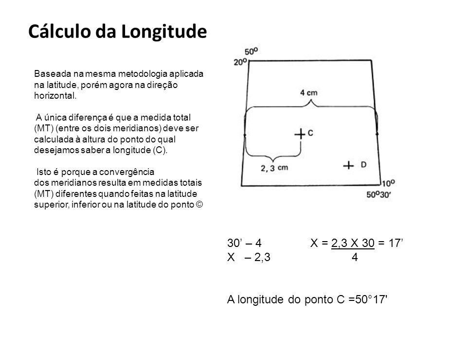 Cálculo da Longitude 30' – 4 X = 2,3 X 30 = 17' X – 2,3 4