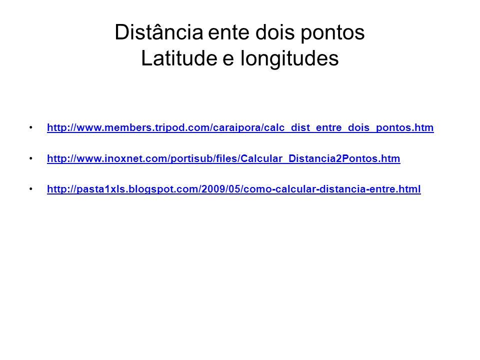 Distância ente dois pontos Latitude e longitudes