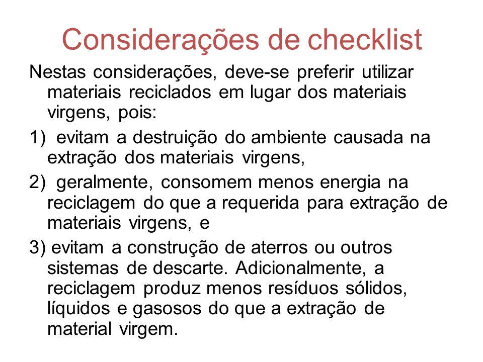 Considerações de checklist