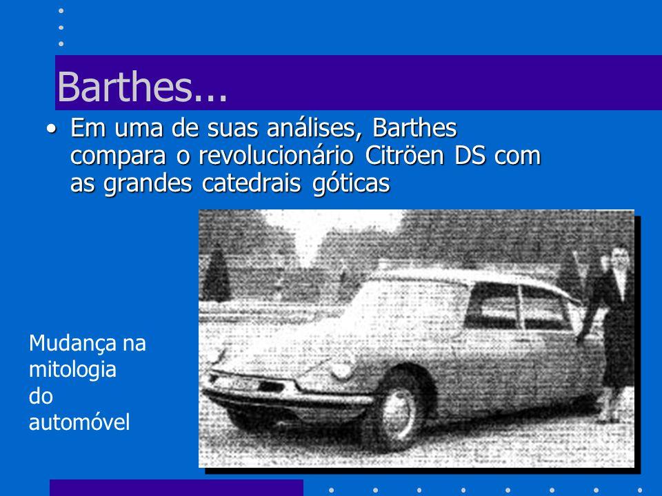 Barthes...Em uma de suas análises, Barthes compara o revolucionário Citröen DS com as grandes catedrais góticas.