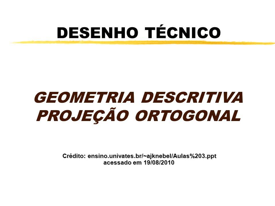 GEOMETRIA DESCRITIVA PROJEÇÃO ORTOGONAL