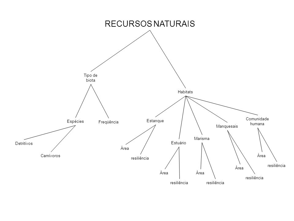 RECURSOS NATURAIS Tipo de biota Habitats Comunidade humana Espécies