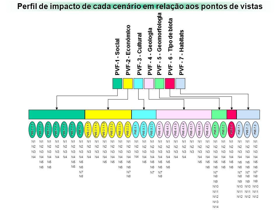 Perfil de impacto de cada cenário em relação aos pontos de vistas