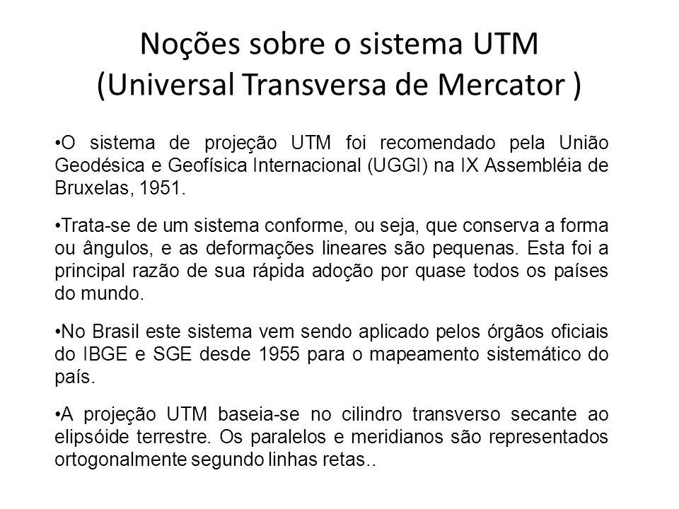 Noções sobre o sistema UTM (Universal Transversa de Mercator )