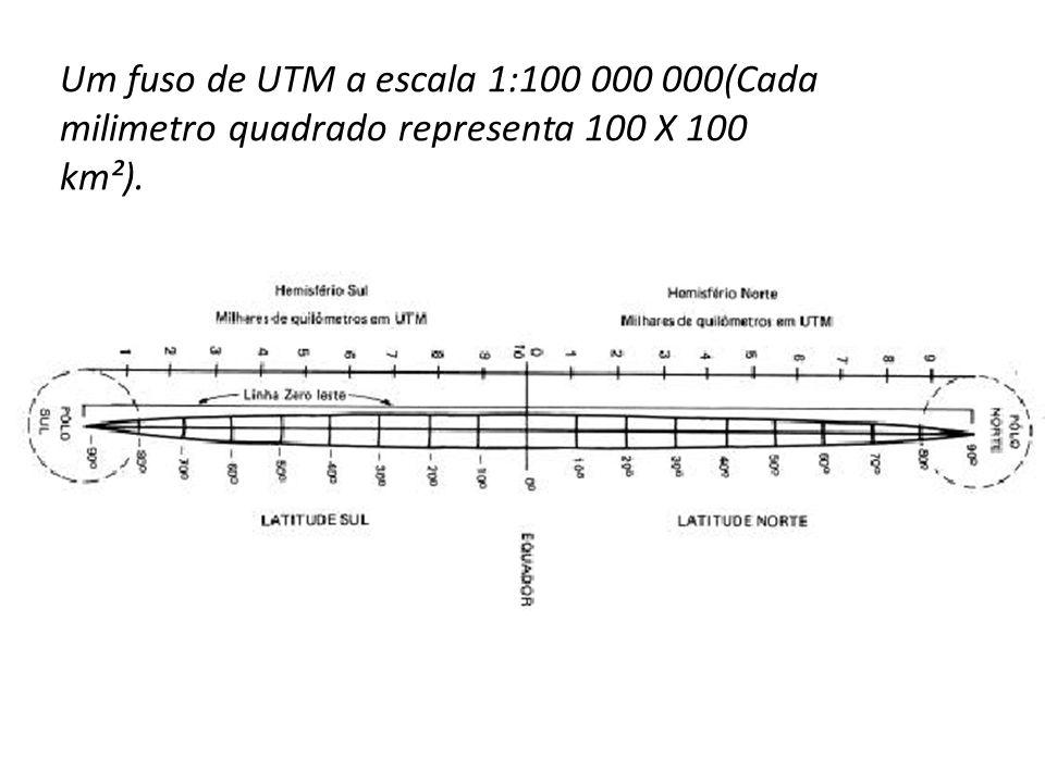 Um fuso de UTM a escala 1:100 000 000(Cada milimetro quadrado representa 100 X 100 km²).