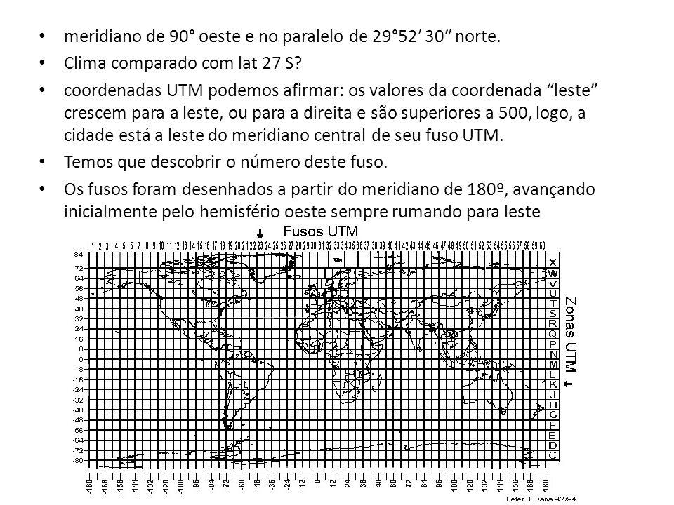meridiano de 90° oeste e no paralelo de 29°52′ 30″ norte.