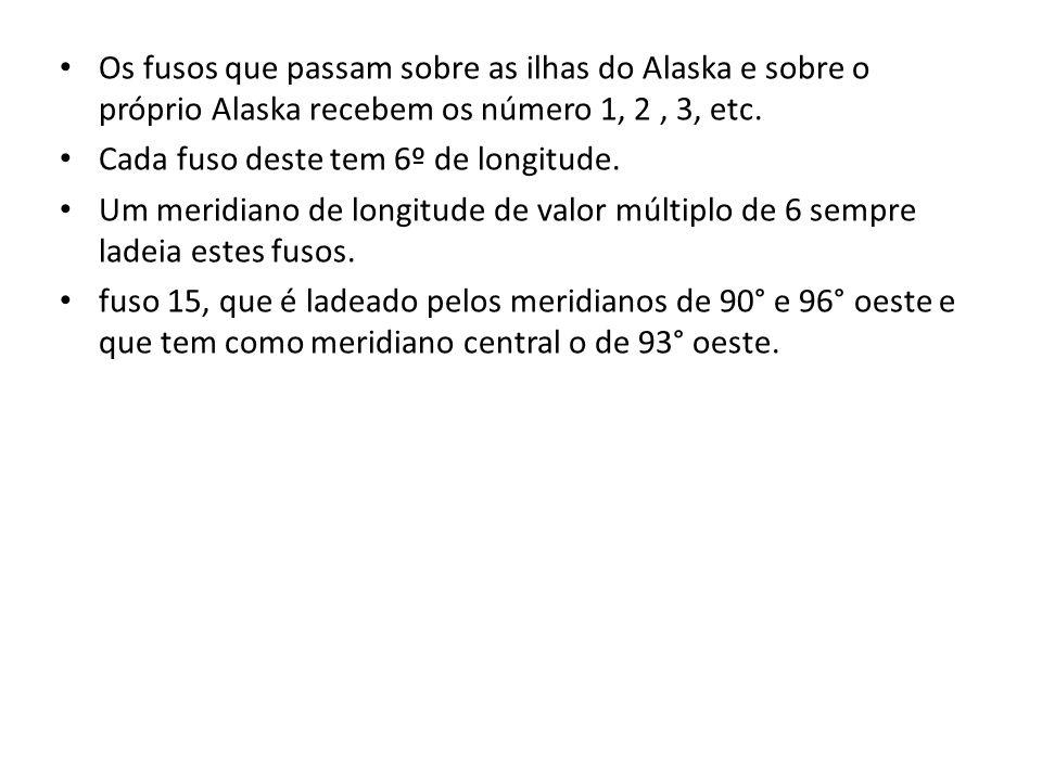 Os fusos que passam sobre as ilhas do Alaska e sobre o próprio Alaska recebem os número 1, 2 , 3, etc.