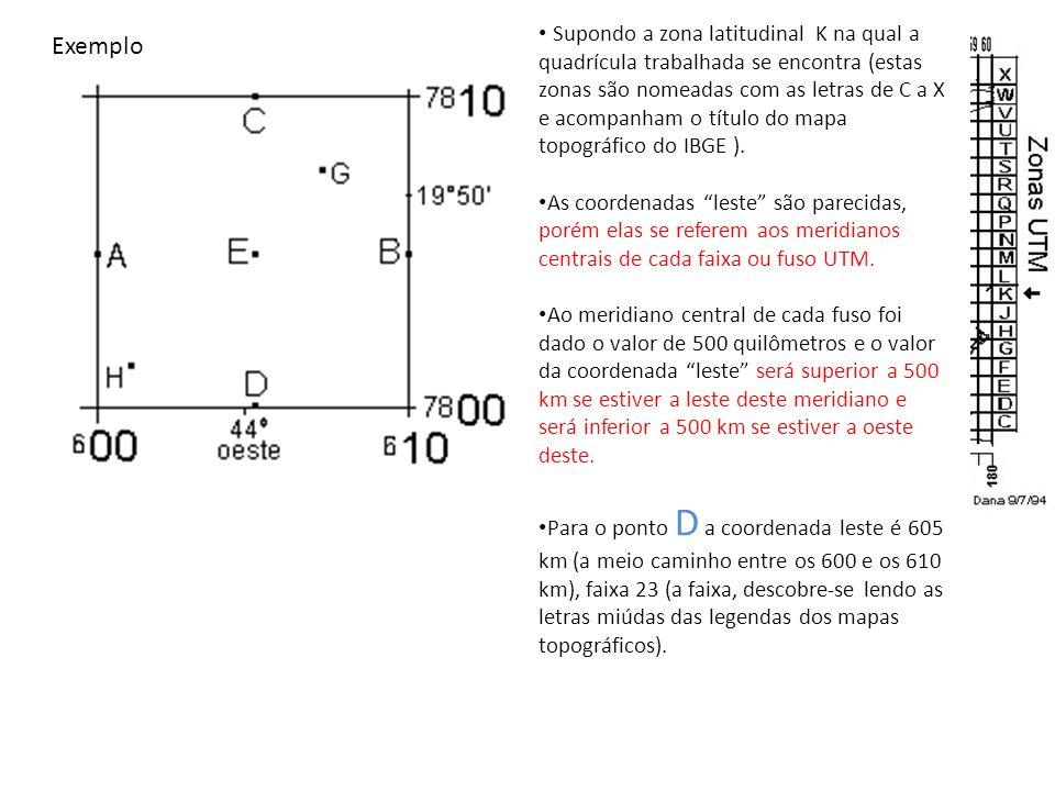 Supondo a zona latitudinal K na qual a quadrícula trabalhada se encontra (estas zonas são nomeadas com as letras de C a X e acompanham o título do mapa topográfico do IBGE ).