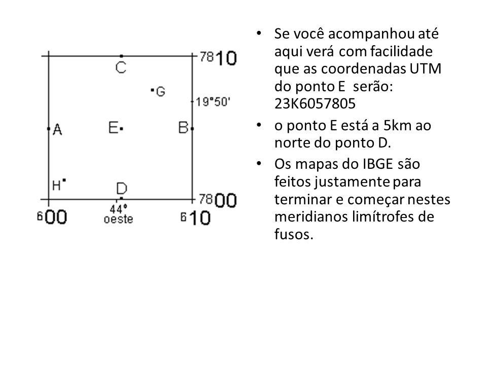 Se você acompanhou até aqui verá com facilidade que as coordenadas UTM do ponto E serão: 23K6057805