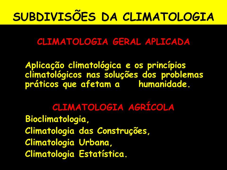 SUBDIVISÕES DA CLIMATOLOGIA