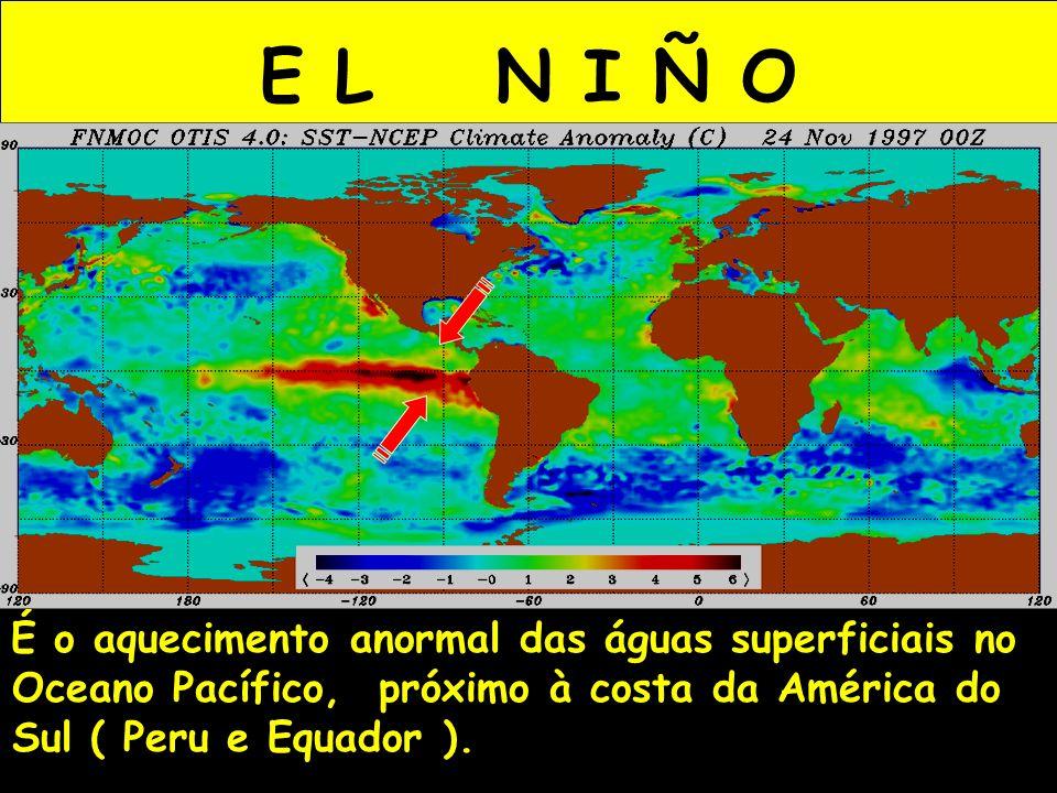 E L N I Ñ O É o aquecimento anormal das águas superficiais no Oceano Pacífico, próximo à costa da América do Sul ( Peru e Equador ).