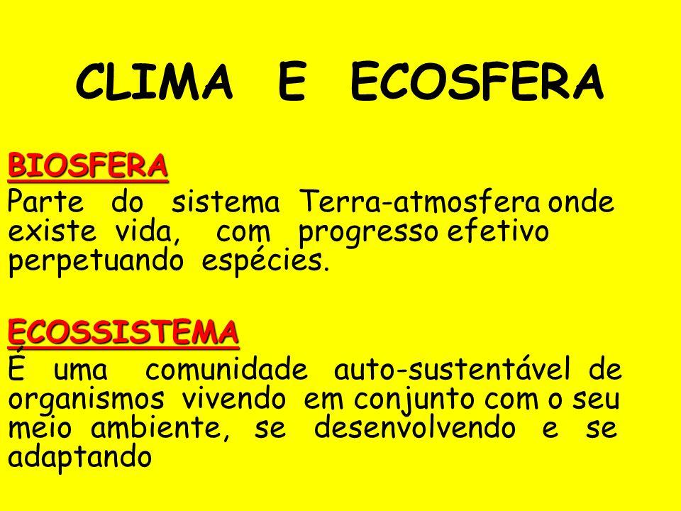 CLIMA E ECOSFERA BIOSFERA