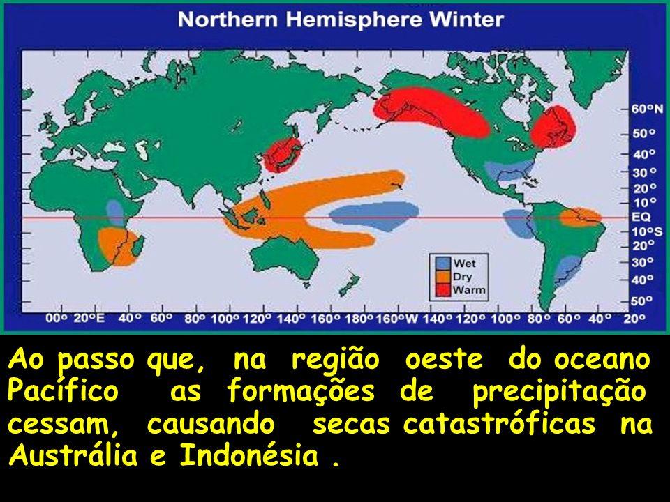 Ao passo que, na região oeste do oceano Pacífico as formações de precipitação cessam, causando secas catastróficas na Austrália e Indonésia .