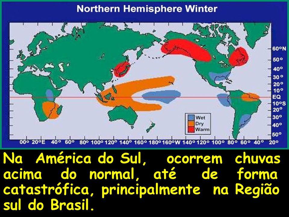 Na América do Sul, ocorrem chuvas acima do normal, até de forma catastrófica, principalmente na Região sul do Brasil.