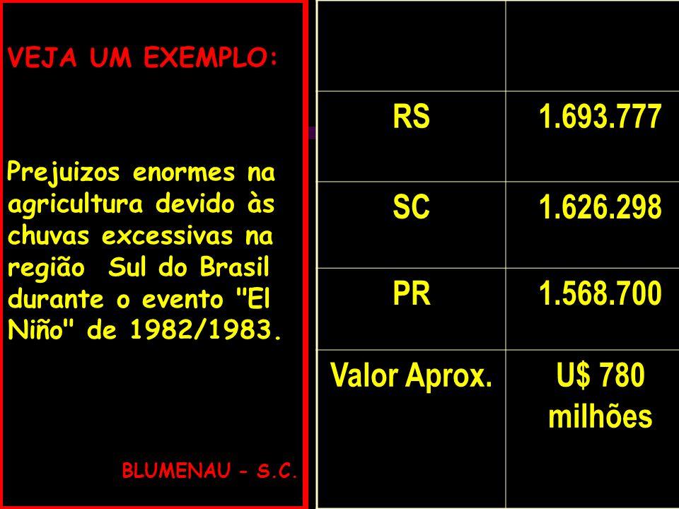 RS 1.693.777 SC 1.626.298 PR 1.568.700 Valor Aprox. U$ 780 milhões