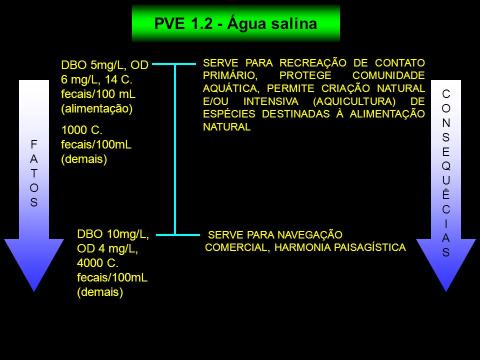 PVE 1.2 - Água salina DBO 5mg/L, OD 6 mg/L, 14 C. fecais/100 mL (alimentação) 1000 C. fecais/100mL (demais)
