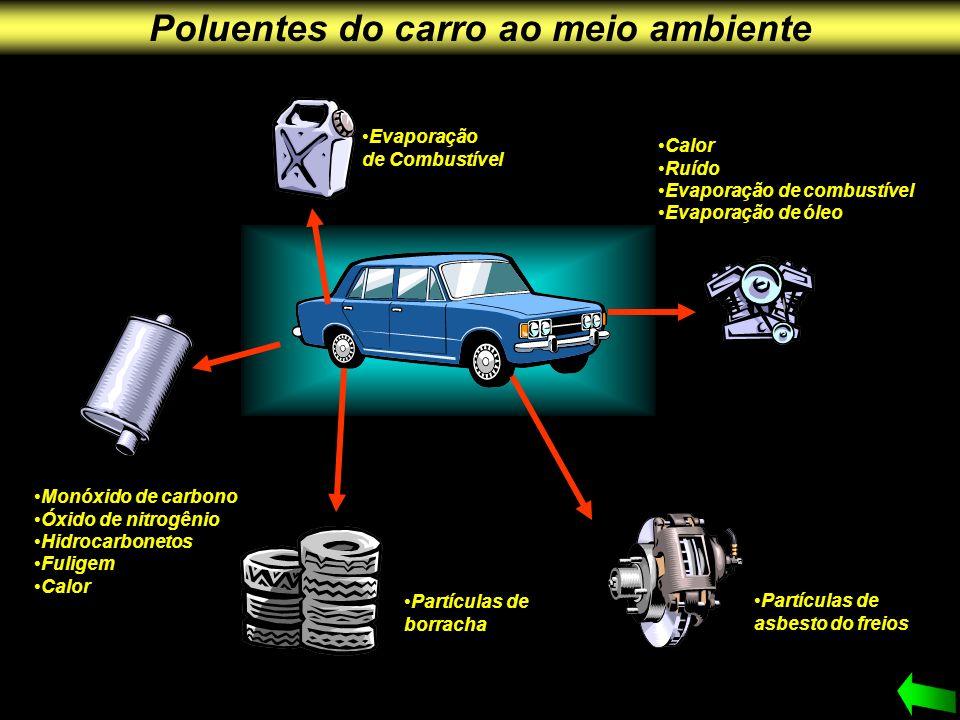 Poluentes do carro ao meio ambiente