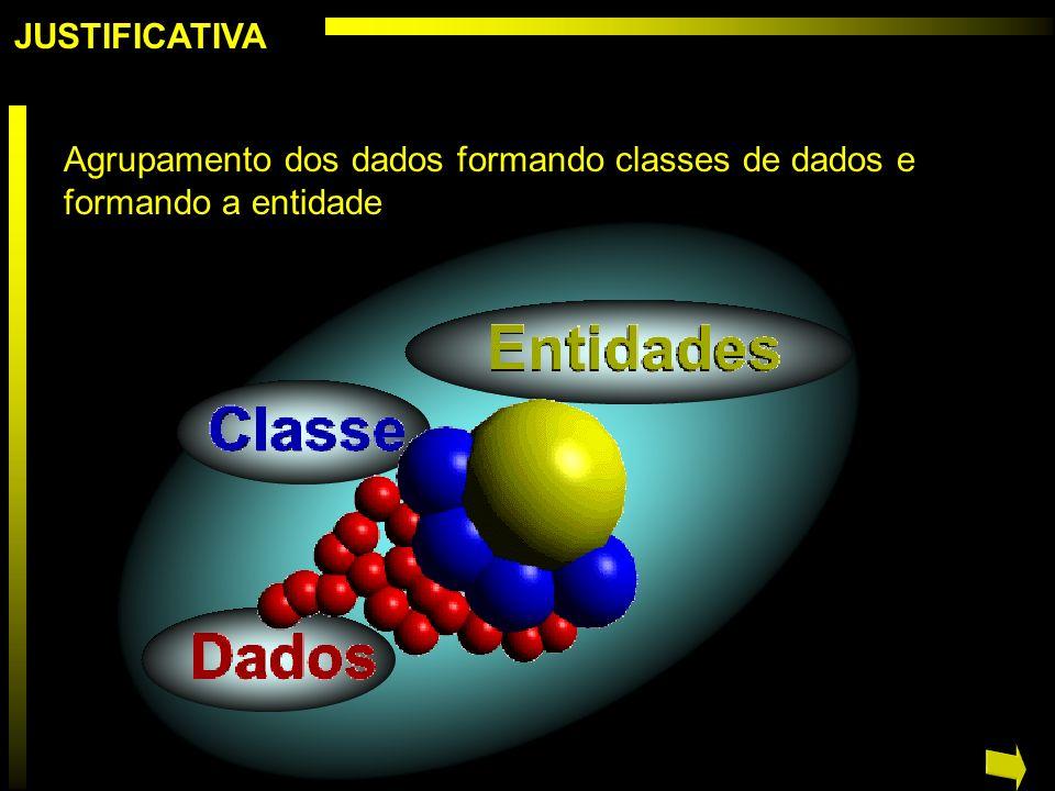 JUSTIFICATIVA Agrupamento dos dados formando classes de dados e formando a entidade