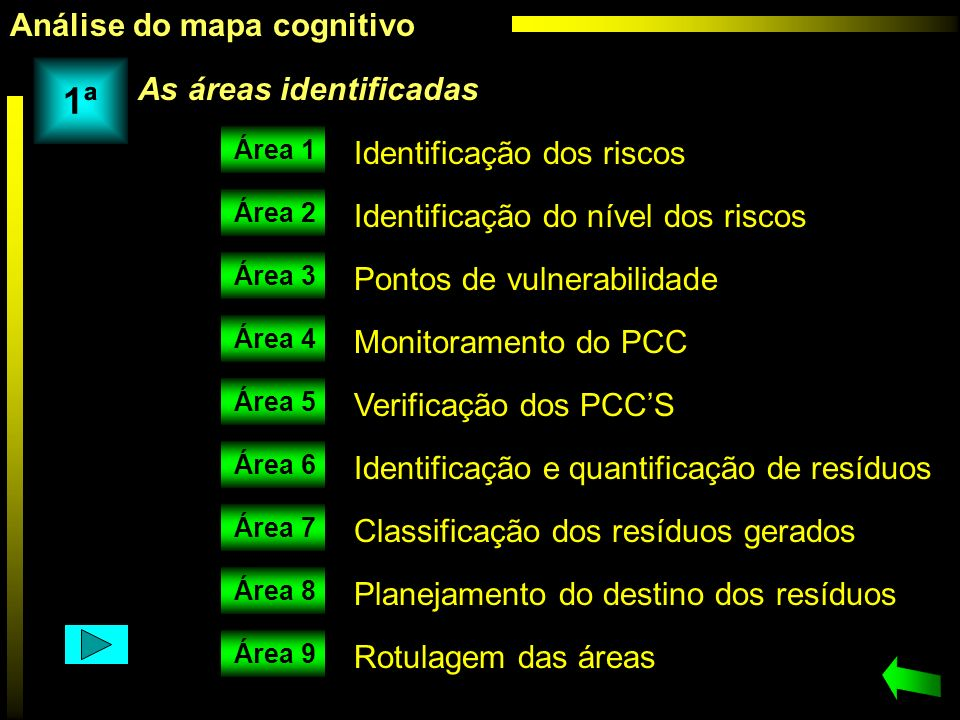 1ª Análise do mapa cognitivo As áreas identificadas