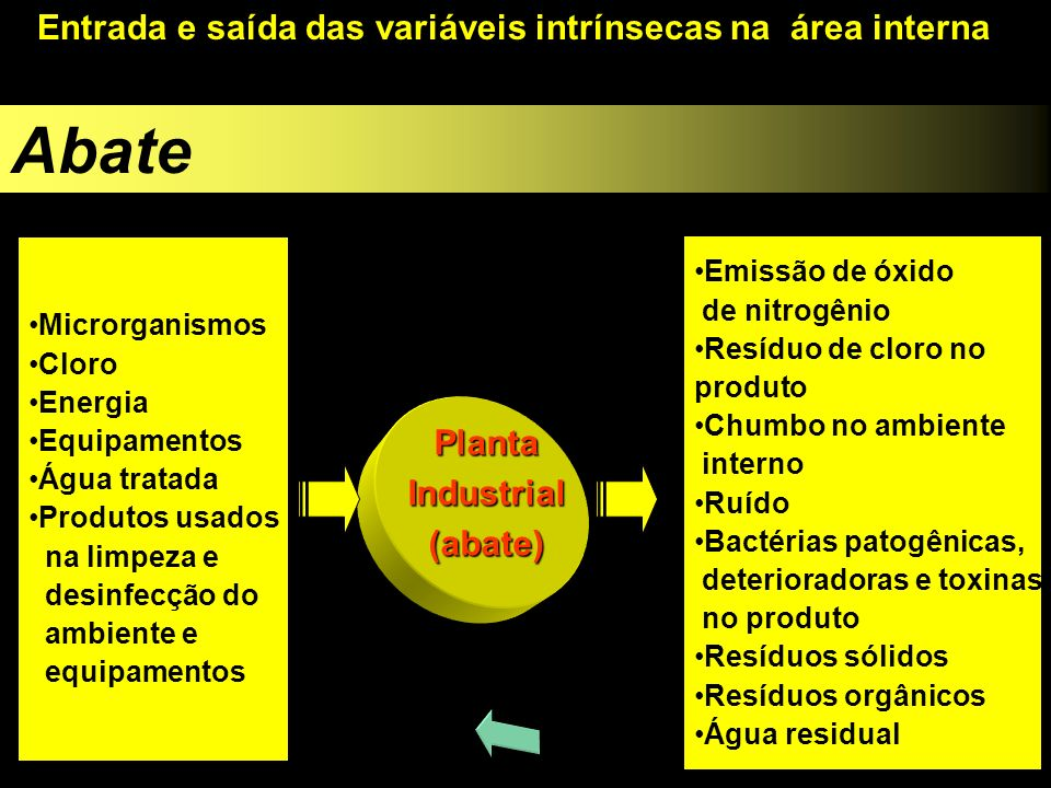 Abate Entrada e saída das variáveis intrínsecas na área interna Planta